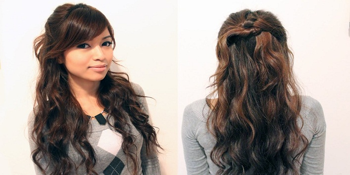 Half-up Half-down Wavy hairstyle
