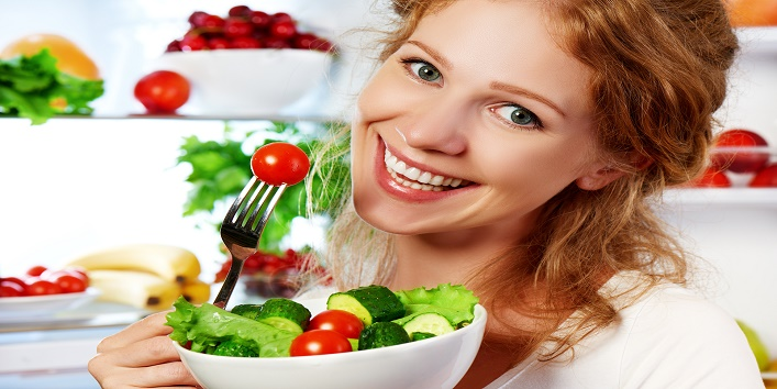 Woman Eats Healthy Food Vegetable Vegetarian Salad About Refrige