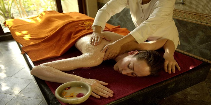 Massage with oil